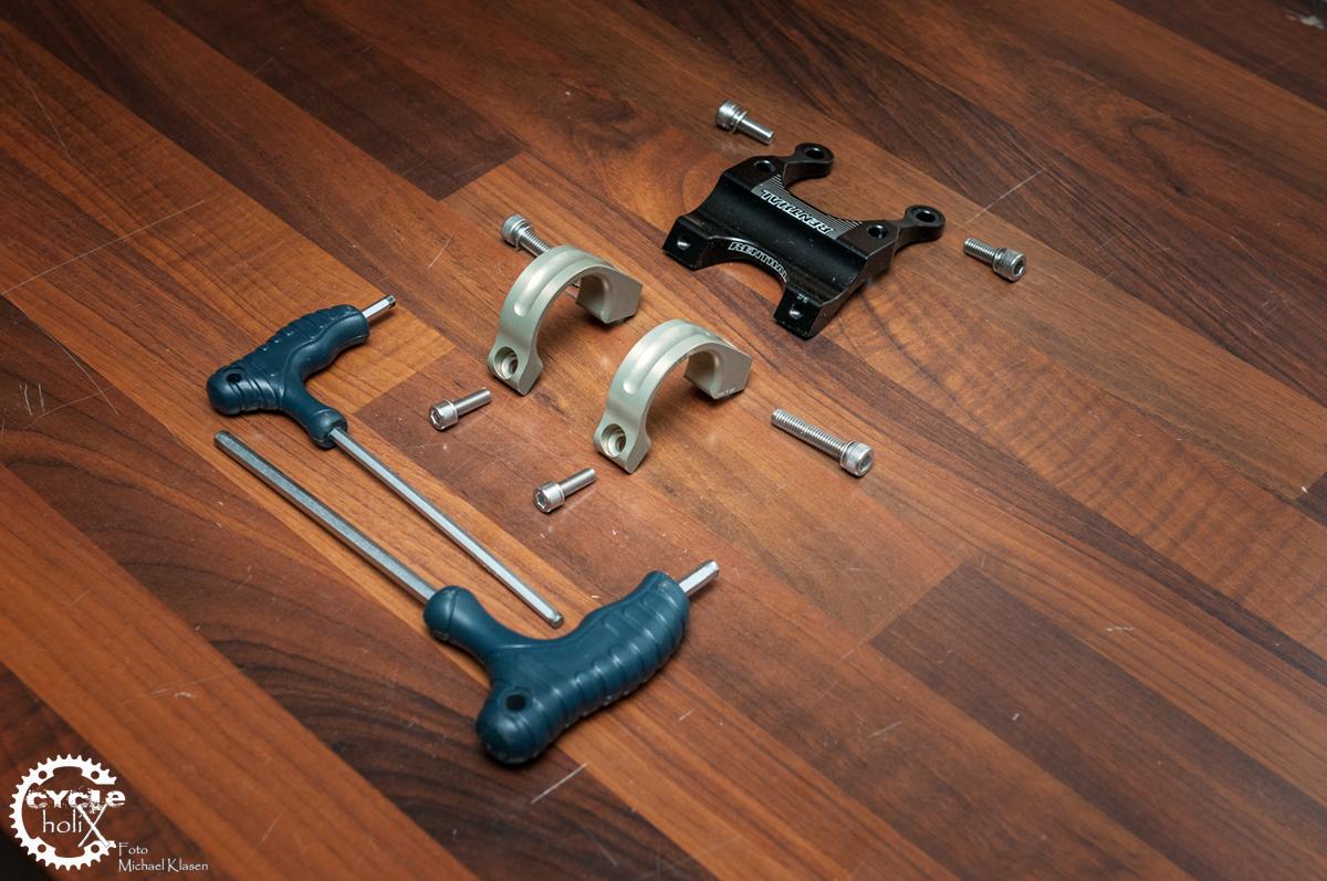 6 Schrauben, 3 Bauteile, reicht für Montage und Klemmung aus