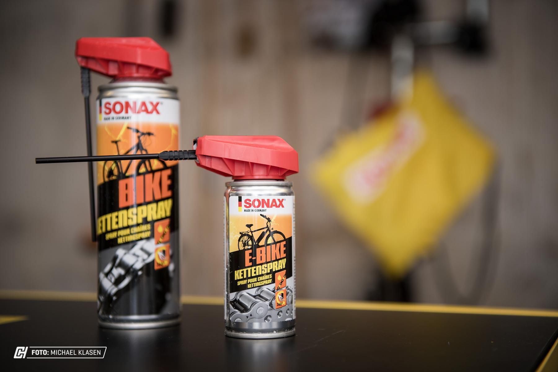 Bike-Kettenspray von Sonax mit praktischem Sprühkopf